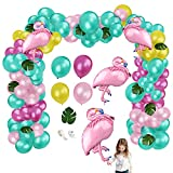 Yisscen Hawaii Beach Party 94 Stück Geburtstagsdeko Flamingo Folienballon Helium Latexballon Tropische Blätter Deko Partyzubehörsets Ballongirlande Sommer Romantische Tisch Dekoration Multi Color