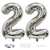 Xihuimay 40' Nummer 22 Folienballon Zahl 22 Luftballon Ziffer 22. Geburtstag Ballon 100cm Riesen Ballons Luft oder Helium Digitaler Ballon für Mädchen Junge Jubiläum Feierliche Anlässe, Silber XXL