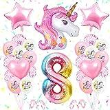specool 8. Geburtstagsfeier Dekoration Mädchen, 8th Einhorn Geburtstagsdekoration Set Pink, GroßE Nummer 8 Folienballon, Rosa WeißE Latexballons, 8. Einhorn Partyzubehör für Babys