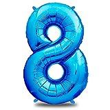 Luftballon Geburtstag XXL Blau - Riesen Folienballon in 40' - 101cm Geburtstagsdeko - Ballon Zahl Deko zum Geburtstag - fliegt mit Helium (Zahl 8)