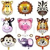 Huture 9 Stück Tiere Folienballon Dschungel Tierballons Tierkopf Ballons Animal Head Luftballons Helium Ballons Kindergeburtstag Jungle Stil Party Perfekt für Geburtstag Party Dekoration