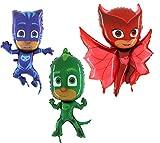 Toyland PJ Masken Set von 3 Folie Form Charakter Ballons - Catboy, Gekko & Owlette - Kinder Party Supplies