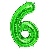 FUNXGO Folienballon Zahl in Grün - XXL / ca.100cm Riesenzahl Ballons - Folienballons für Luft oder Helium als Geburtstag, Hochzeit , Jubiläum oder Abschluss Geschenk, Party Dekoration (Grün [6])