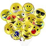 Yizhet Party Luftballons 18 Inch Folie Helium Party Ballons Smiley Gesicht Ballons für Hochzeiten Party Jubiläumsbedarf Dekorationen Ausstattung (24 Stück Folie Helium Ballons)
