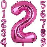 XXL Groß Rosa Zahl 2 Folienballon Luftballon Folien Mylar Riese MäDchen Helium Ballon Geburtstag Party Deko Lieferungen Baby 100 CM