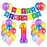 O-Kinee Luftballon 1. Geburtstag Bunt, Ballon 1. Geburtstag, Geburtstagsdeko 1 Jahr, Riesen Folienballon Zahl 1, Happy Birthday Folienballon 1, Ballon 1 Deko zum Geburtstag Junge Mädchen