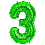 FUNXGO Folienballon Zahl in Grün - XXL / ca.100cm Riesenzahl Ballons - Folienballons für Luft oder Helium als Geburtstag, Hochzeit , Jubiläum oder Abschluss Geschenk, Party Dekoration (Grün [3])