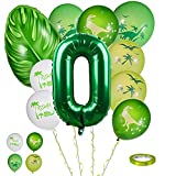 FORMIZON 0. Geburtstag Dekorationen, 10 Stück Dinosaurier Geburtstag Ballons Set, Luftballon Zahlen, Riesen Folienballon, Dinosaurier Luftballon Set, Geburtstagsdeko Kinder Ballon Zahl für Babyparty