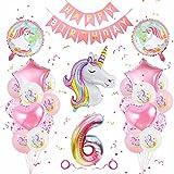 Einhorn Geburtstagsdeko 6 Jahre, Geburtstagsdeko Mädchen 6 Jahre, Banydoll Einhorn Deko Kindergeburtstag, Luftballon 6 Geburtstag Mädchen, Geburstag Deko Mädchen 6 Jahre Rosa