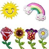 Folienballons in Blumenform, Sonnenschein, Wolken, Regenbogen Sonnenblume, Rose, Aluminiumfolienballon, die Ballons sind sehr hell und bunt, können wiederholt angewendet werden(6 große Ballons)