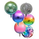 6PCS 70er Jahre Disco Fever Jumbo Folienballons 22inch 4D Folienballon Luftballons Ballon - Discokugel Disco Ball Disco Dance Party Supplies für Kinder Geburtstag Erwachsene Abschluss Hochzeit Dekor