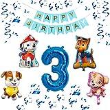 Paw Patrol XXL Folienballon Set Happy Birthday Banner + Zahl 1 2 3 4 5 6 7 8 9 Luftballon Ballon Hund Kindergeburtstag Deko Dekoration Geburtstag Party Marshall Skye Rubble Chase (Zahl 3)