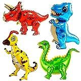 Dinosaurier Luftballons, 3D Riesen Luftballons mit selbststehender Folie, 4pcs Jumbo-Dinosaurier-Luftballons für Geburtstagsdekorationen, Jurassic Theme Party Supplies Boys Girls