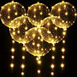 6 Stücke LED Leuchtende BoBo Luftballons, 20 Zoll Warmweiße Blase Transparente Helium Ballons mit 10ft Lichterketten für Geburtstag Hochzeit Party Weihnachten Dekoration