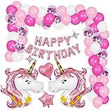 Dadasiki Einhorn Ballon Dekoration, Mädchen Geburtstagsfeier Ballon Dekorationen Rosa Folienballon Latex Konfetti Luftballons Einhorn Thema Party Liefert