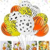 Xingsky 60 Stück Ballons, 12 Zoll dicke Cartoon Schwarz-Weiß-Hund Pfote Kuh Leopard Tiger Muster Tier gestreiften Ballon, Latex Ballons mit, für Geburtstag, Geeignet für alle Arten von Party
