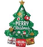 Amscan 3829801 - Multi Balloon Weihnachtsbaum mit Geschenken, 94 x 86 cm, Weihnachtsbaum, Weihnachten, Heliumballon, Folienballon, Party, Dekoration, Xmas Tree, Christmas, Santa Claus