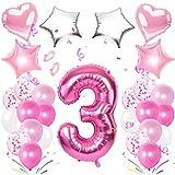 TaimeiMao Luftballon 3. Geburtstag Rosa, Happy Birthday Folienballon,Rosa Luftballons Metallic,Happy Birthday Dekoration Zahl,Nummerndekoration,Riesen Folienballon,Happy Birthday Dekoration (Rosa 3)