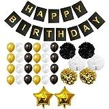 33-tlg Happy Birthday Girlande - Gold, Schwarz und Weiß Pom-Poms, Banner, Latexballons und Folienballons für Geburtstag, Kinder-Partys - Großpackung Dekorationen Zubehör für Mädchen, Jungen