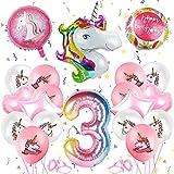 Einhorn Geburtstagsdeko,3 Jahre Einhorn Party Mädchen Geburtstagsdeko Luftballons,Einhorn Ballon,Folienballon,Party Kindergeburtstag Happy Birthday Dekoration Luftballon