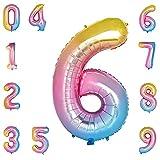 Luftballon Zahlen 6 Bunt,Riesen 40 inch Zahlen Folienballon für Jubiläum Party Dekoration,Geburtstagsdeko,Party Dekoration