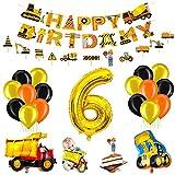 Bagger Geburtstag Deko Set für Kinder,6.Geburtstag Jungen Deko,Baustelle Kindergeburtstag Party Dekoration,Geburtstag Luftballon Deko,Bagger Luftballons,Truck Folienballons