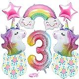 Luftballon 3. Einhorn Luftballons, Einhorn Geburtstagsdeko 3 Jahr Mädchen mit 3D Riesen Folienballon Einhorn Zahlen 3, Stern Folienballon Latex-Luftballons Partydekoration für Mädchen Geburtstags