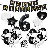 Gxhong Geburtstagsdeko Luftballons, Schwarz Zahl 6 Riesen Folienballon Konfetti Ballon Herzballon Starnballon Zahlenballon Happy Birthday Girlande Banner für Kindergeburtstag Dekoration