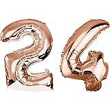 DekoRex Folienballon Rosegold 100cm Luftballon Geburtstag Feier Hochzeit (Zahl: 24)