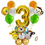 Jxuzh 22pcs Dschungel Deko Luftballons Safari Party Dekorationen 3. Geburtstag Junge Luftballons Tier Folienballons XL Zahl 3 Zahlen Ballon Urwald Party Kinder Deko Dschungel Geburtstag Deko