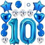 Ceqiny 16 Stück Blau Luftballon Kit 10. Geburtstag Partyballon 40' Zahl 10 Folienballon 12' Helium Konfetti Latexballons 18' Herz Sterne Mylar Ballons Dekorationen für Mädchen Kinder Tochter