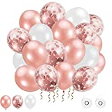 62 Stück Luftballons,Rosegold Weiß luftballons rosegold Konfetti Ballons Latex Ballons Helium Ballons für Party Feier Dekoration für Geburtstag und Geburstagsdeko