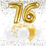 Feste Feiern Party-Deko zum 76. Geburtstag Gold Metallic Zahl 76 Set 86cm Zahlenballon Luftballon Folienballon 76ter Goldene Sterne weiß Glanz 21 Teile Dekoration Happy Birthday Jubiläum