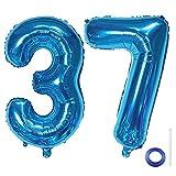 Liitata Zahl 37 Luftballons Blau Nummer 37 Luftballon Männer Frauen XXXL Riesen Folienballon 40 zoll Heliumballon für Geburtstag Hochzeit Jubiläum Abschlussball Party Dekoration