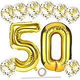 Luftballons Geburtstagsdeko Gold,40 Zoll XXL Riesen Folienballon Zahlen Luftballon 50 mit Gold Konfetti Luftballons/Band,Gold Folienballons Ballons Set für Männer Frauen 50. Jubiläum Geburtstag Deko