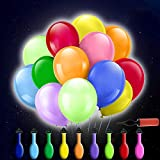 50 Stücke LED Leuchtende Luftballons,LED Luftballons Bunte Ballons,Led Helium Ballons,Party Ballons für Hochzeit Party, Geburtstag, Feierlichkeiten Party Luftballons mit Ballonpumpe und Farbiges Band