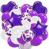 Weiß Lila Luftballon Set, Love Folienballon Herz-Ballon Konfetti Luftballons & Latex Ballons mit Bändern für Geburtstag, Hochzeit, Babyparty, Dekoration, Geschäftstätigkeit
