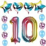 10 luftballon Zahl 10. geburtstag mädchen Regenbogen kit XXL ZahlenBallons 10 Helium Folienballon Regenbogen für 10 Geburtstag mädchen Deko,8 stk Konfetti Latexballons,4 stk Herz Sterne Folienballon