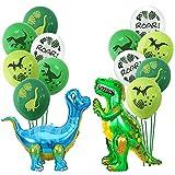 Dino Ballon, 3D Stehende Dinosaurier Folienballons Aufblasbar mit Dinosaurier Latexballons Grün Blau für Geburtstagsfeier Babyparty 14 Stück