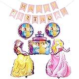 BESTZY Prinzessin Ballons, Folienballon Prinzessin Disney, 6Pcs Birthday Party Supplies, für Mädchen Frauen Geburtstags Babyparty Partei Hintergrunden