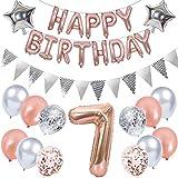 Ouceanwin 7. Geburtstag Dekoration Rosegold Kindergeburtstag Partyset, Riesen Luftballons Zahl 7, Folienballons Happy Birthday Banner, Wimpelkette Banner Silber, 7 Jahre Geburtstagsdeko für Mädchen
