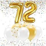 Feste Feiern Party-Deko zum 72. Geburtstag Gold Metallic Zahl 72 Set 86cm Zahlenballon Luftballon Folienballon 72ter Goldene Sterne weiß Glanz 21 Teile Dekoration Happy Birthday Jubiläum