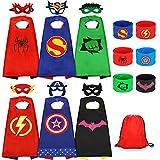 Jojoin Superhelden Kinderkostüm Kinder, 6 Stücke Superhelden Kostüm Kinder mit 6 Superhelden Masken, 6 Schnapparmband, 1 Tasche, Spielzeug & Geschenke für Kindergeburtstag, Halloween oder Karneva