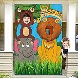 Dschungel Tiere Dekorationen Geburtstag Party Requiste Große Stoff Dschungel Hintergrund Foto Tür Banner Hintergrund, Lustige Spiel Zubehör für Dschungel Party Dekorationen 59 x 39,4 Zoll