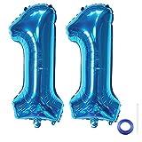 Liitata Zahl 11 Luftballons Blau Nummer 11 Luftballon Mädchen Junge XXXL Riesen Folienballon 40 zoll Heliumballon für Geburtstag Hochzeit Jubiläum Abschlussball Party Dekoration
