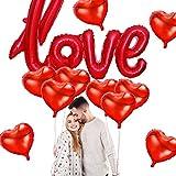 Xinqin 11 Stück Rot Herzballons Love Folienballon Luftballons Herzform Heliumballons Herzluftballons Helium Herz Luftballons für Geburtstag Valentinstag Hochzeit Verlobung Party Dekoration