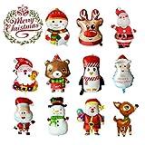 LABOTA 11PCS Groß Fröhliche Weihnachten Luft ballons Aluminium folien ballon Weihnachtsmann/Schneemann/Rentier/Elch Helium Ballon für Weihnachten Neujahr Party Decor Supplies