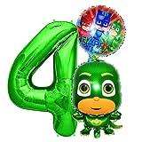 PJ Masks Gecko Geburtstags Deko Set, Zahl 4 Folienballon Luftballon Ballon Pyjamahelden Geko Grün PJ Mask Kinder Dekoration jungen und Mädchen (Zahl 4)