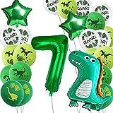 Luftballons Geburtstag 7 Jahr, Dino Geburtstag Dekorationen Junge luftballon,Party boy Geburtstag number deko Kinder,Riesen Folienballon Zahl 7, Geburtstag Ballons für Kinderpartyzubehör