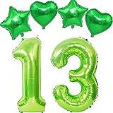 40 Zoll luftballon Zahl 13 geburtstag junge Mädchen Grün + 4 pcs Folienballon,XXL ZahlenBallons 13 Helium Folienballon Grün für Geburtstag Deko,Nummer 13 Luftballon Grün Luftballon 13. Geburtstag